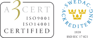 Conrit AB - 3 cert ISO 9001, ISO 14001 Certified, SWEDAC ackreditering